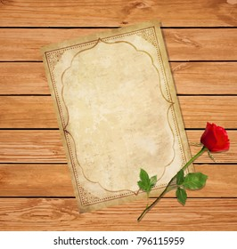 Highly detailed vector illustration of old blank paper script with curly oriental ornament, space for text and elegant red rose on wooden background. Vintage love mail, invitation, greeting card.