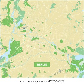 Highly detailed vector street map of Berlin with no names.