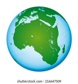 Highly detailed world map. African and european continents. Vector icon. Blue and green globe.