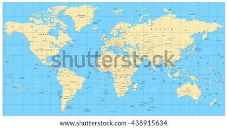 Highly detailed world map countries cities stock vector royalty highly detailed world map countries cities water objects all elements are separated gumiabroncs Gallery