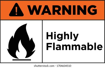Highly flammable caution and warning sign vector