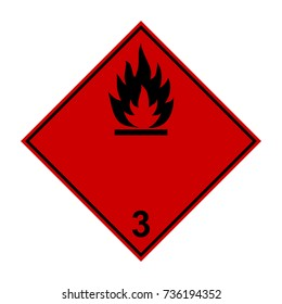 Highly flammable liquid, ADR black and red sign, vector illustration.