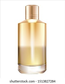 Highly realistic image of a golden bottle of perfume on a white background