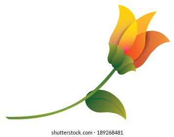 A highly stylized orange flower with long stem and green leaf rests at a forty-five degree angle.