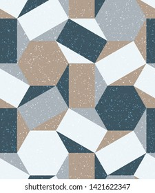 Highly Textured Grungy Neutral Colored polygons shapes tile mosaic multi-colored blocks, seamless repeat vector pattern. Triangle, square, diamond, trapezoid, hexagon, polygon. Grunge.