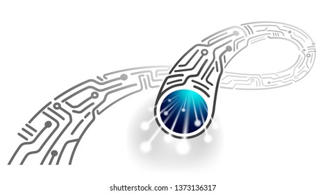 High-speed digital cable in the future Design of new monochrome fiber optic cable Abstract. Vector EPS file.