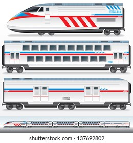 High-Speed Locomotive with Waggons. Vector Image