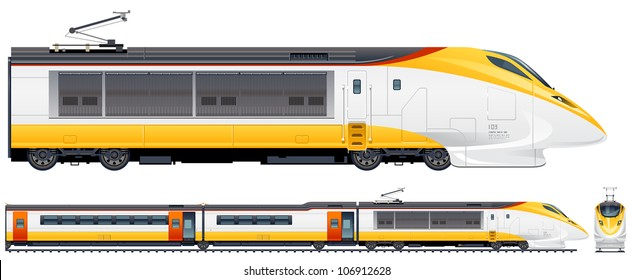 High-speed passenger train in vector (Train #2). Pixel optimized. Elements (locomotives, carriages, rails) are in the separate layers. In the side, back and front views.