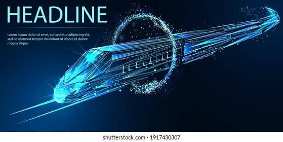 Hochgeschwindigkeitszug. Digitaler Low-Poly-Wireframe futuristischer Vektorgrafik. Zukunftslogistik, moderne Technologie, Verkehrskonzept.