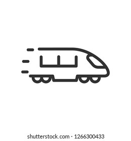 high-speed train. linear icon. Line with editable stroke