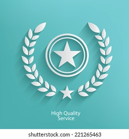 Hight quality badge symbol on blue background,clean vector