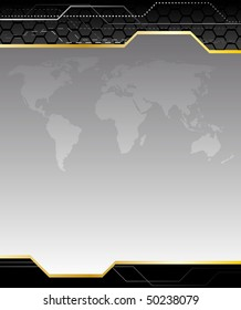 High-tech black background with earth map. Clip-art