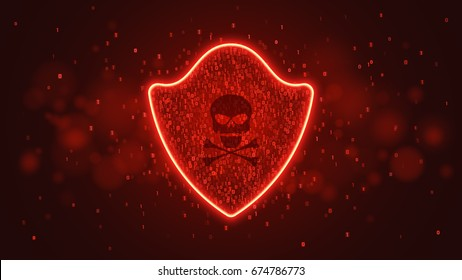 High-tech computer concept. A red glowing neon shield from a binary code. The system is under threat. Hacking the system. Skull with crossed bones. Vector illustration