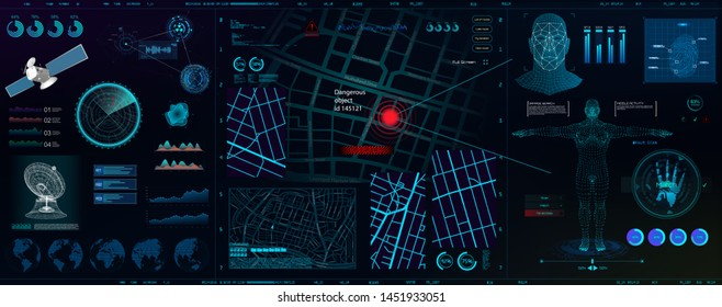 High-tech dashboard for people search. Search, recognition, detection. Biometric smart recognition system (persons, body, fingerprints, palm)\nSpyware app for tracking. HUD, GUI, UI vector elements