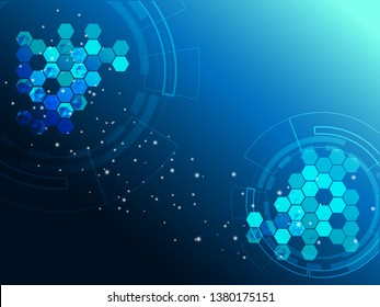 High-tech digital technology circuit, concept, technology, hexagon elements, with gradient corner polygonal on dark blue background. vector illustration abstract