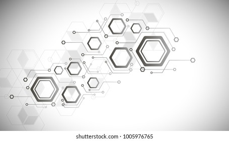 High-tech digital technology, the concept of digital telecommunication technology. Vector abstraction of a futuristic hexagon on a white background gray background