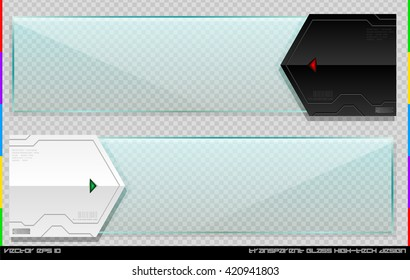 High-tech futuristic banner set with glass plate. Cyber technology horizontal information window. Glossy hi-tech element. Tech glass plate banner. Glass banner. Futuristic menu bar