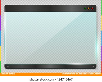 High-tech futuristic design glass plate. Cyber technology horizontal information window. Tech banner with brushed metal element. Vector digital banner on transparent background