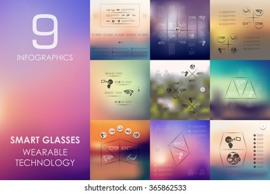 high-tech glasses infographic with unfocused background