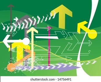 hightech green background of arrow, wallpaper