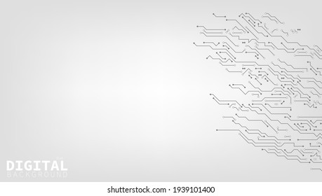 High-tech Technology Digital Background Black And White Circuit Board Concept. EPS10 Vector