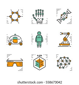 High-tech vector icons set on white background. Innovations in technology topic.