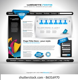 HighTech Website - Elegant Design for Business Presentations. Template with a lot of design elements. Every Shadow is transparent