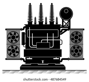 The high-transformatorel. Black and white illustration. Risk of electric shock. electricity supply. Energy Transformation.