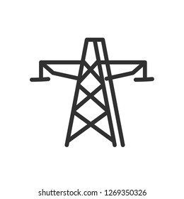 high-voltage power post. linear icon. Line with editable stroke