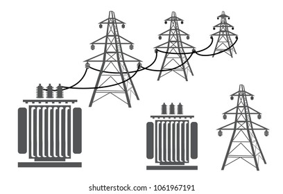 High-voltage pylons are linked to the transformer