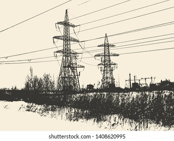 high-voltage tower. Electric power. vector illustration