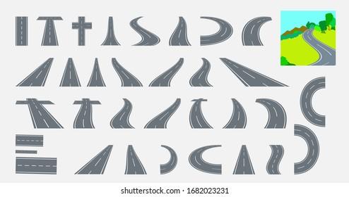 Highway, asphalt road. A big set of curved elements in perspective. Bending roads, vector illustrations.