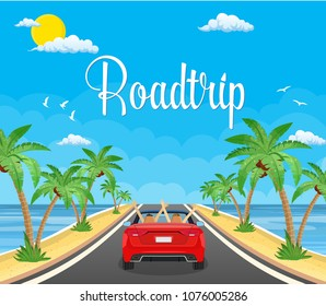 highway drive with beautiful landscape on a beach with palms. Summer tourism, travel. Travel road car view. happy free couple in car driving with arms raised. vector illustration in flat design