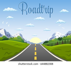 highway drive with beautiful landscape. Travel road car view. mountains horizon. vector illustration in flat design