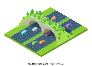 Highway and green crosswalk bridge for animals above the road. Vector isometric 3D illustration. Save environment and ecology concept. Modern road junction construction.