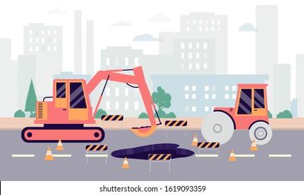 Highway hole repair roadwork banner - industrial machinery repairing big pothole on road. Excavator vehicle doing street maintenance - flat vector illustration.