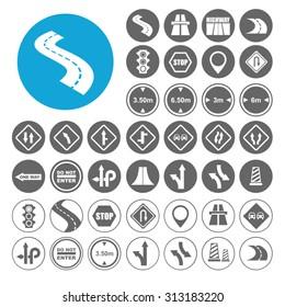 Highway icons set. Illustration EPS10