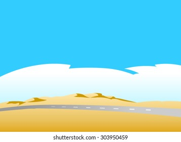 Highway into desert.Vector illustration of a road in the deserted  landscape, with dunes, a blue sky and clouds in the background.Empty space leaves room for design elements or text.Poster.Background.