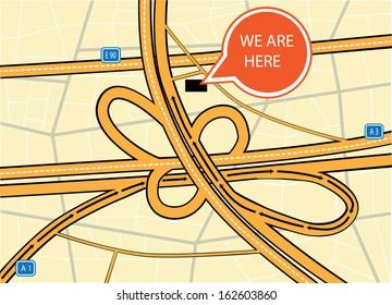 Highway map vector design