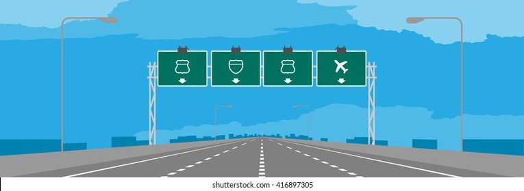 Highway or motorway and green signage in daytime illustration on blue sky background