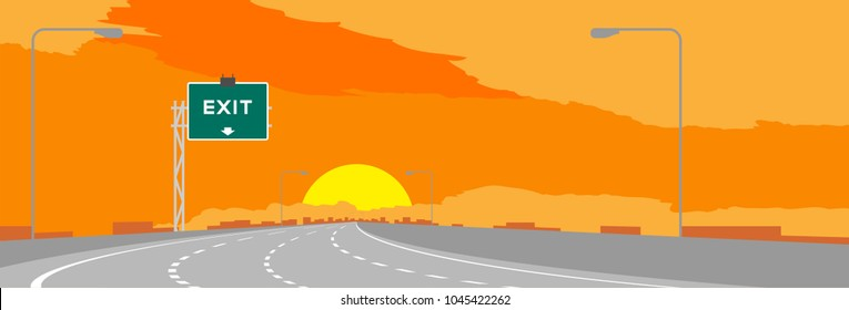 Highway or motorway and green signage with Exit sign in surise, sunset time illustration on orange sky background
