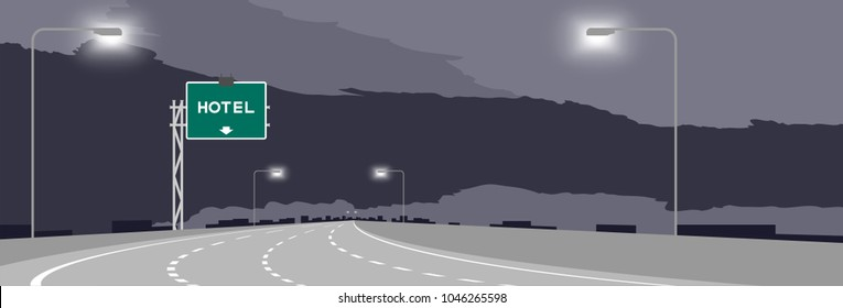 Highway or motorway and green signage with Hotel sign at nighttime illustration isolated on dark sky background