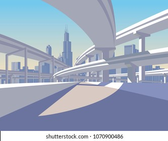 Highway overpass and city skyline in sun light. Modern urban life conceptual vector illustration