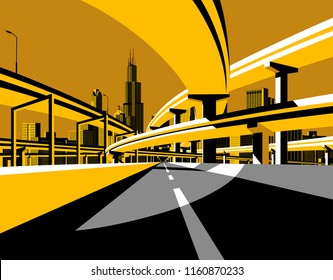Highway overpass road bridges and city skyline in flat style. Modern urban life conceptual vector illustration