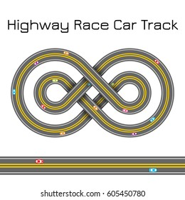 Highway Race Sport Car Track - Celtic Cross Infinity Sign Shape Ornament - Vector Illustration