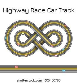 Highway Race Sport Car Track - Celtic Cross Infinity Sign Shape Ornament - Vector Illustration