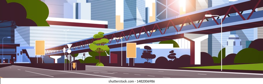 highway road to city skyline with modern skyscrapers and subway cityscape sunset background flat horizontal
