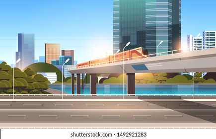 highway road city street with modern skyscrapers train on railway monorail crossing bridge urban cityscape background flat horizontal