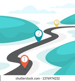 Highway road with GPS sign on it. Idea of navigation and direction. Route marker on the street. Vector illustration in cartoon style