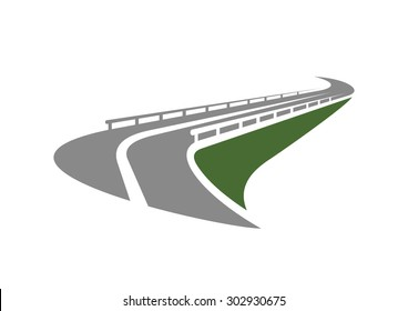 Highway road icon with metal traffic barriers passing on the edge of green steep slope isolated on white background. For transportation design